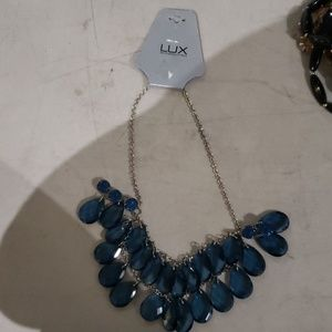 Lux Accessories Blue Dangle Necklace